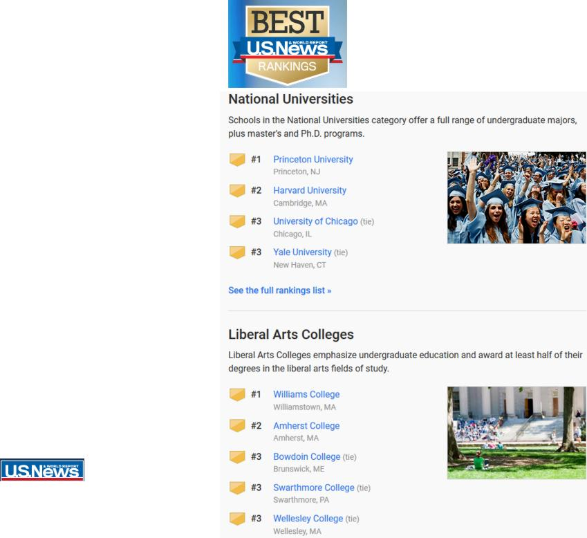 18 US News Best Rankings Universites Colleges Americains