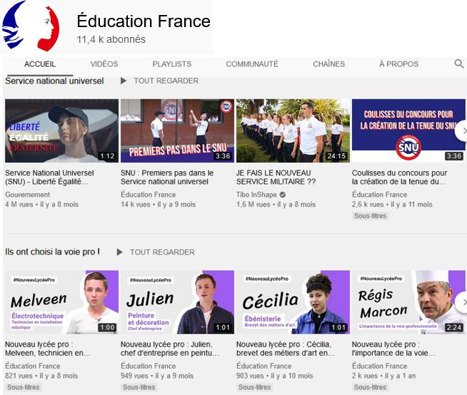 20 Youtube Education France